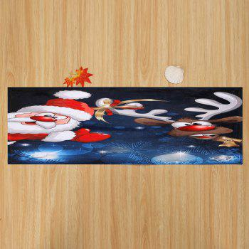 Christmas Deer Santa Claus Antislip Area Rug - COLORMIX W16 INCH * L47 INCH
