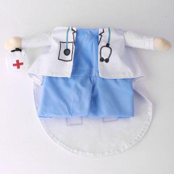 Pet Cat Doctor Costume Dog Cosplay Party Change Clothes - BLUE AND WHITE XL