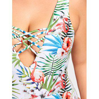 Plus Size Lace Up Floral Swimsuit - 3XL 3XL
