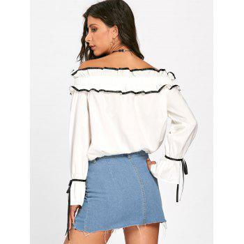 Ruffles Bowknot Hollow Out Long Sleeve Blouse - OFF WHITE L