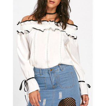 Ruffles Bowknot Hollow Out Long Sleeve Blouse - OFF-WHITE L