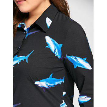 Plus Size 3D Shark Print Long Sleeve Shirt - BLACK BLACK