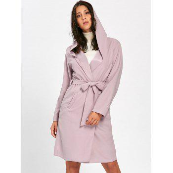 Hooded Belted Open Front Woolen Coat - PINK M