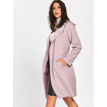 Hooded Belted Open Front Woolen Coat - L L