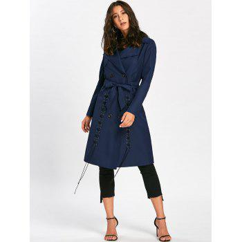 Tie Belt Lace Up Trench Coat - M M