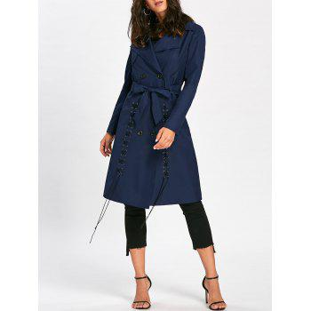 Tie Belt Lace Up Trench Coat - PURPLISH BLUE M