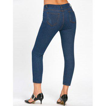 Cartoon Scratch Pattern Ripped Neuf Minutes of Jeans - Bleu M