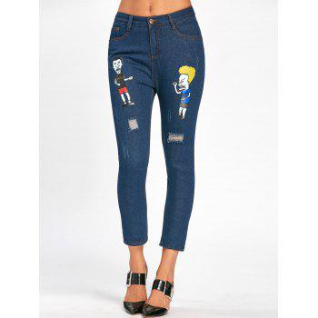 Cartoon Pattern Scratch Ripped Nine Minutes of Jeans - BLUE BLUE
