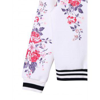 Floral Zip Up Baseball Jacket - WHITE S