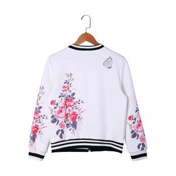 Floral Zip Up Baseball Jacket - WHITE 2XL