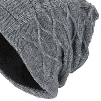 Letters Label Thicken Double-Deck Knit Hat - GRAY