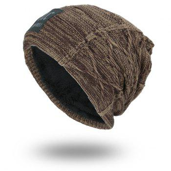 Letters Label Thicken Double-Deck Knit Hat - DARK KHAKI DARK KHAKI