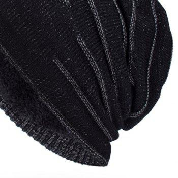 NY Double-Deck Thicken Knit Hat - BLACK