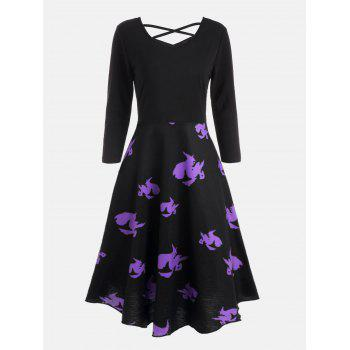 Cross Back Halloween Witches Print Flare Dress - BLACK BLACK