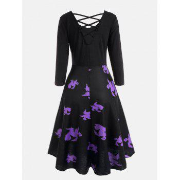 Cross Back Halloween Witches Print Flare Dress - BLACK L