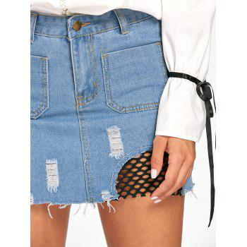 Patch Pockets Fishnet Trim Frayed Denim Skirt - DENIM BLUE DENIM BLUE