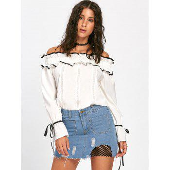 Ruffles Bowknot Hollow Out Long Sleeve Blouse - OFF WHITE M