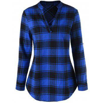 Blouse à Carreaux à Col Tunisien à Bordure Arquée