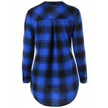 Curved Hem Plaid Blouse - SAPPHIRE BLUE / BLACK XL