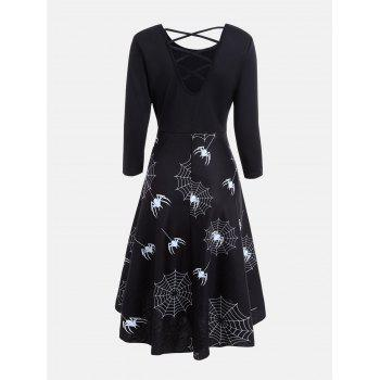 Casual Halloween Spider Web Print Flare Dress - BLACK BLACK