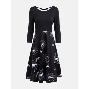 Casual Halloween Spider Web Print Flare Dress