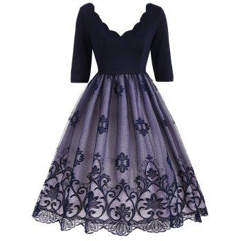 Floral Lace Panel V Neck Vintage Dress - DEEP BLUE DEEP BLUE