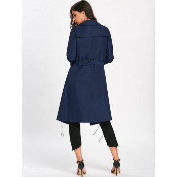 Tie Belt Lace Up Trench Coat - PURPLISH BLUE PURPLISH BLUE