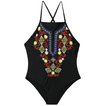 Lace Up Embroidered Plus Size Swimsuit - BLACK BLACK