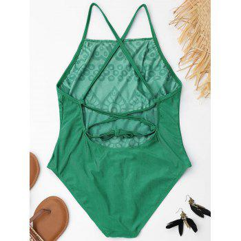Lace Up Embroidered Plus Size Swimsuit - GREEN GREEN
