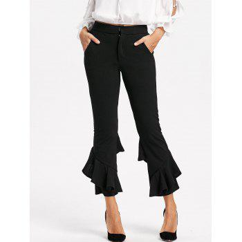 Layered Cropped Flare Pants - BLACK BLACK