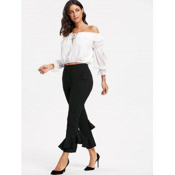 Layered Cropped Flare Pants - BLACK M