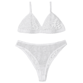 Triangle Lace Bra Set - WHITE S