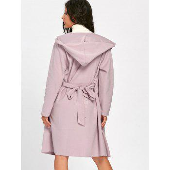 Hooded Belted Open Front Woolen Coat - PINK PINK