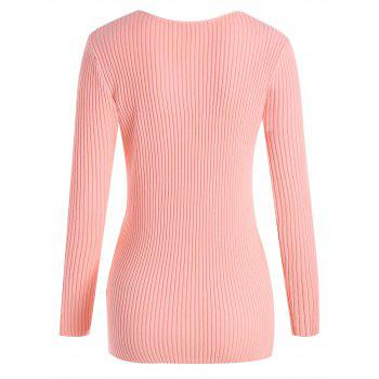 Plus Size V Neck Ribbed Sweater - PINK PINK