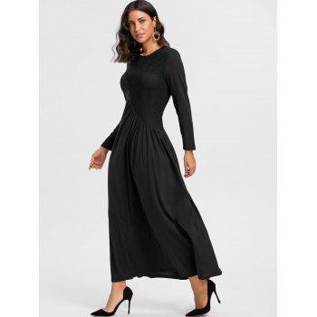 Long Sleeve Lace Insert Ruched Maxi Dress - BLACK BLACK