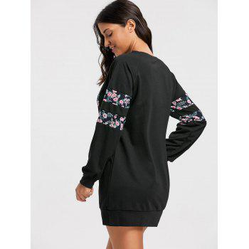 Crew Neck Floral Print Mini Sweatshirt Dress - BLACK BLACK
