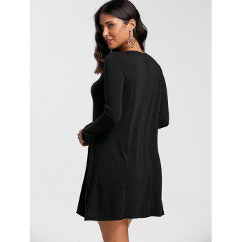 Long Sleeve Mini T-shirt Swing Dress - BLACK S