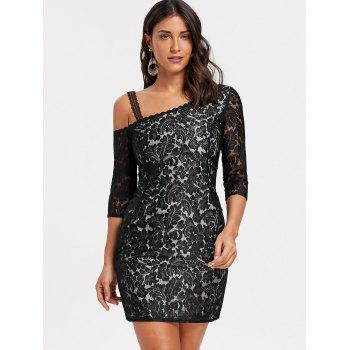 Floral Lace Skew Neck Bodycon Dress - BLACK M