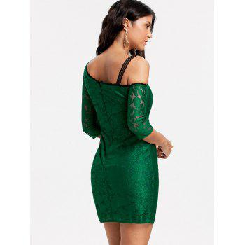 Floral Lace Skew Neck Bodycon Dress - GREEN GREEN