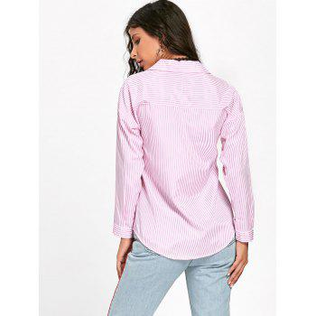 Floral Embroidered High Low Striped Shirt - PINK XL