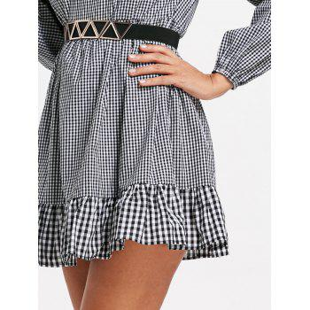 Off The Shoulder Plaid Drop Waist Dress - CHECKED CHECKED