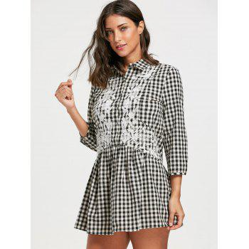 Drop Waist Plaid Floral Embroidered Dress - CHECKED CHECKED