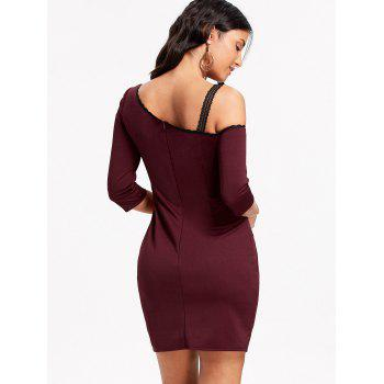Skew Neck Lace Trim Bodycon Mini Dress - WINE RED WINE RED
