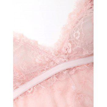 Lace See Through Cami Bralette - PINK M