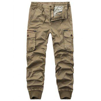 Flap Pockets Zipper Fly Cargo Jogger Pants - KHAKI KHAKI