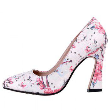 Floral Sequined High Heel Pumps - RED RED