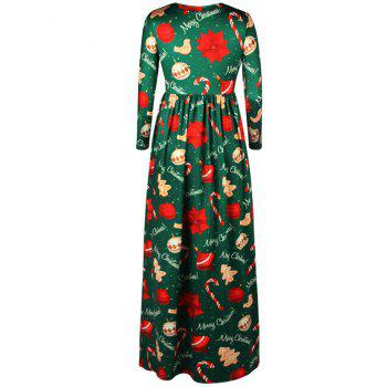 Merry Christmas Tree Print Maxi Dress - GREEN GREEN