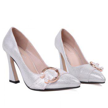 Faux Pear Metal Ring Glitter Pumps - SILVER SILVER