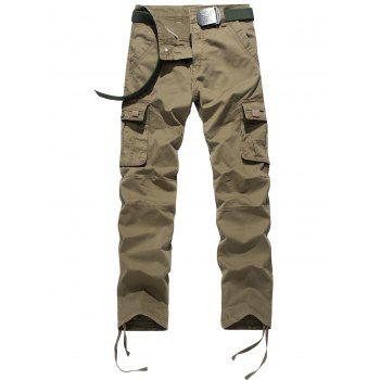 Drawstring Feet Pockets Cargo Pants - KHAKI KHAKI
