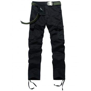 Drawstring Feet Pockets Cargo Pants - BLACK BLACK